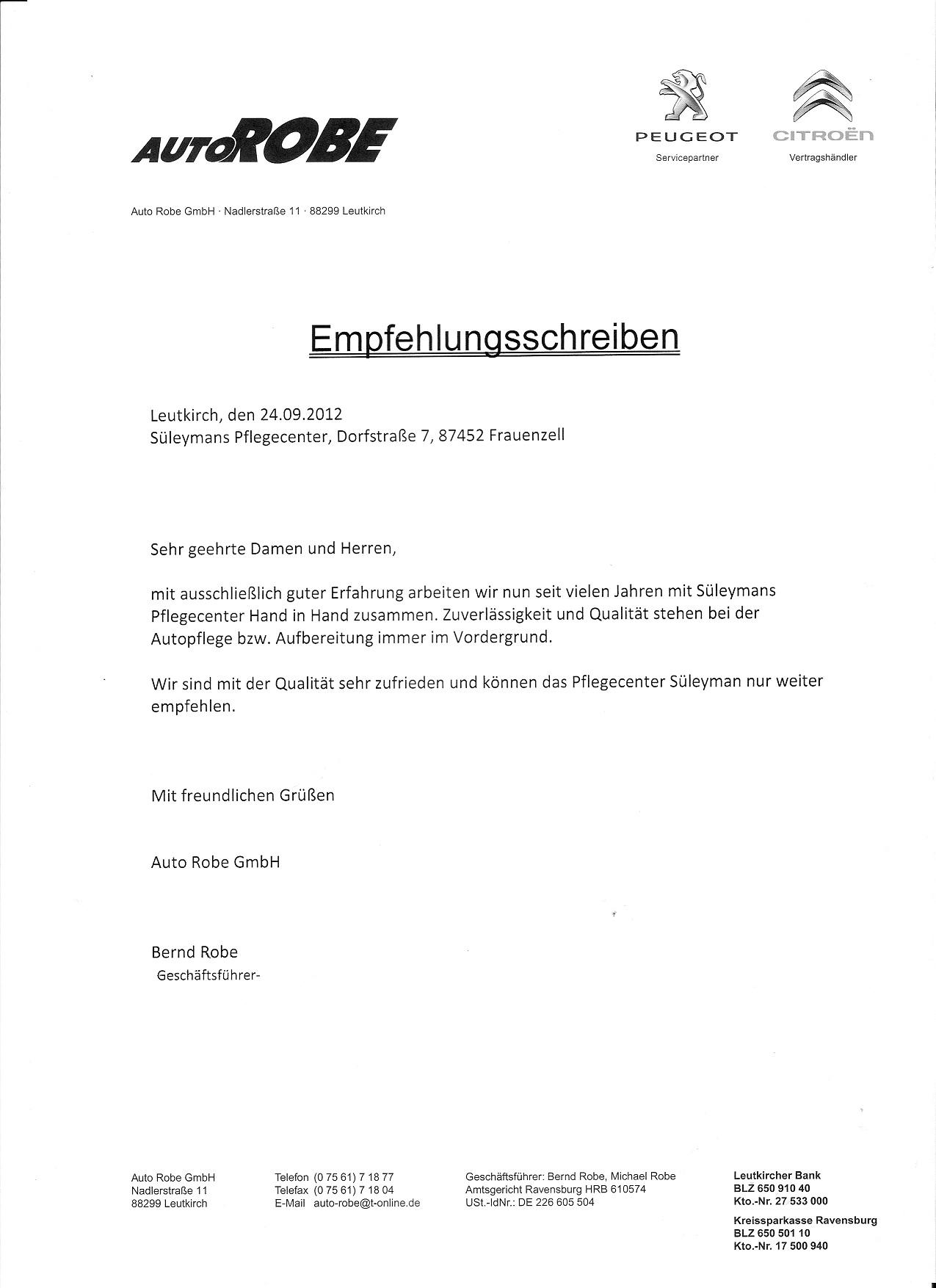 Empfehlungsschreiben-Autorobe